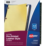 Avery&reg Black Leather Pre-printed Tab Dividers - Copper Reinforced