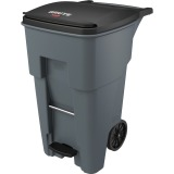 Rubbermaid Commercial 1971968 65 Gallon BRUTE Step-On Rollout Container - Gray