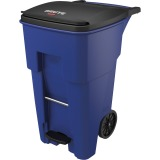 Rubbermaid Commercial 1971970 65 Gallon BRUTE Step-On Rollout Container - Blue