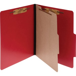 ACCO® ColorLife® PRESSTEX® 4-Part Classification Folders, Letter, Red, Box of 10