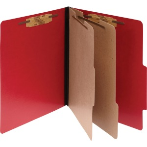 ACCO® ColorLife® PRESSTEX® 6-Part Classification Folders, Letter, Red, Box of 10