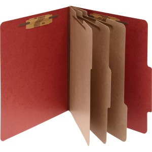 ACCO® Pressboard 8-Part Classification Folders, Legal, Earth Red, Box of 10