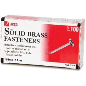 "ACCO® Brass Fasteners, 1 1/2"", Box of 100"