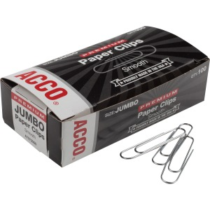 "ACCO® Premium Jumbo Paper Clips, Smooth Finish, Jumbo Size 1-7/8"", 100/Box"