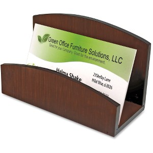 Artistic Eco-Friendly Bamboo Curves Business Card Holder