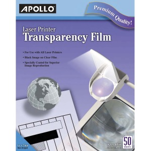 Apollo® Laser Printer Transparency Film, 50 Sheets