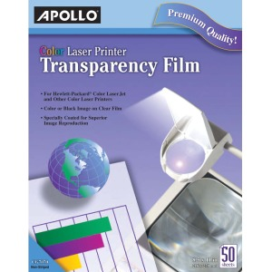 Apollo® Color Laser Printer Transparency Film, 50 Sheets