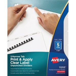 Avery Index Maker Narrow Tab Print & Apply Clear Label Dividers - Unpunched