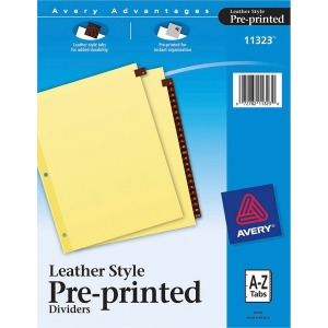 Avery Red Leather Pre-printed Tab Dividers - Clear Reinforced