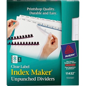 Avery Index Maker Print & Apply Clear Label Dividers with White Tabs - Unpunched