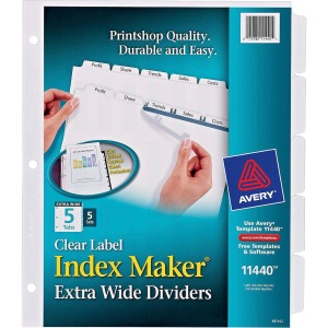 Avery Index Maker Extra-Wide Print & Apply Clear Label Dividers
