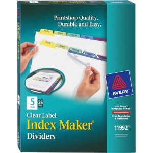 Avery&reg Index Maker Print & Apply Clear Label Dividers with Contemporary Color Tabs
