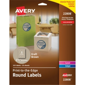 Avery Kraft Brown Print-to-the-Edge Round Labels