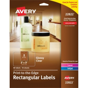 Avery Glossy Clear Print-to-the-Edge Rectangular Labels