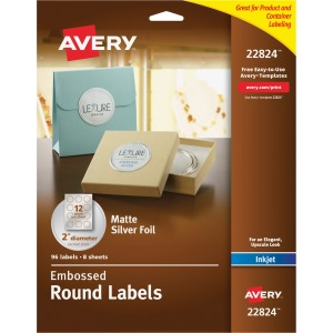 Avery Matte Embossed Foil Round Labels