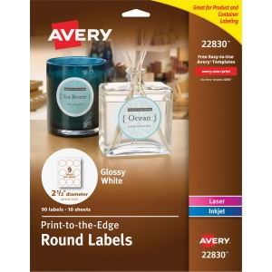 Avery White Print-to-the-Edge Round Labels