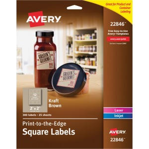 Avery Kraft Brown Print-to-the-Edge Square Labels