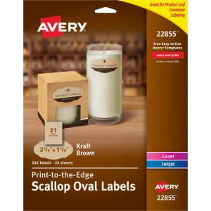 Avery Kraft Brown Scalloped Labels