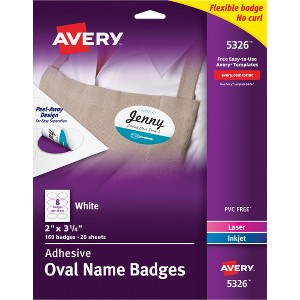 Avery Flexible Adhesive Oval Name Badge Labels