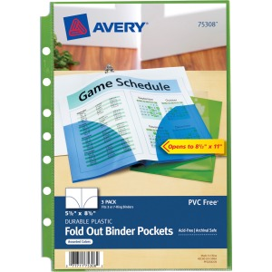"Avery&reg 5-1/2"" x 8-1/2"" Mini Fold Out Binder Pockets"