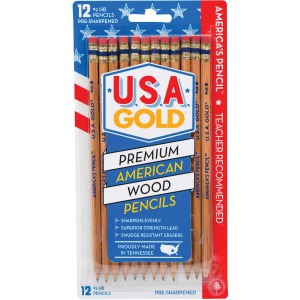 The Board Dudes USA Gold Natural Wood No. 2 Pencils