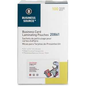 Business Source 5 mil Business Card Laminating Pouches