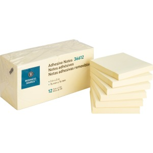 Business Source Yellow Repositionable Adhesive Notes