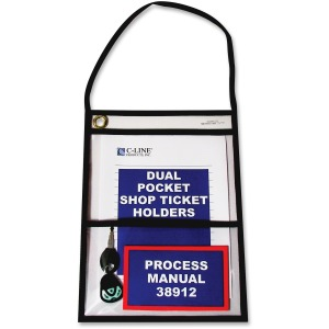 C-Line Stitched Dual Pocket Shop Ticket Holder with Hanging Strap