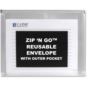 C-Line Zip 'N Go Reusable Envelope with Outer Pocket, Clear, 3/PK, 48117