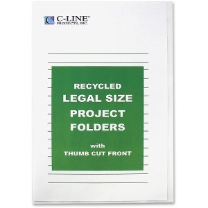 C-Line Recycled Project Folders, Clear - Reduced Glare, LEGAL, 14 x 8 1/2, 25/BX, 62129