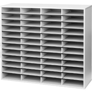 Fellowes Literature Organizer - 48 Compartment Sorter, Dove Gray