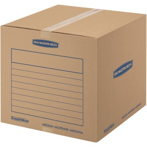 "Fellowes Bankers Box® SmoothMove™ Basic Moving Boxes, Medium Size, Kraft/Blue, 16""H x 18""W x 18""D, 20 / Pack"