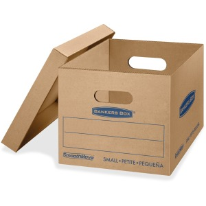 "Fellowes Bankers Box® SmoothMove™ Classic Moving Boxes, Small Size, Lift-Off Lid, Kraft, 10""H x 12""W x 15""D, 10 / Pack"
