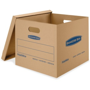 "Fellowes Bankers Box® SmoothMove™ Classic Moving Boxes, Medium Size, Lift-Off Lid, Kraft, 14""H x 15""W x 18""D, 8 / Pack"
