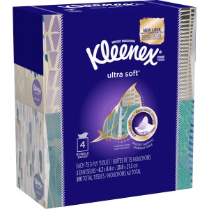 Kleenex Ultra Soft Facial Tissue 4/PK 75 Sheets/Box