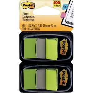 "Post-it® Flags, 1"" Wide, Bright Green 2-pack"