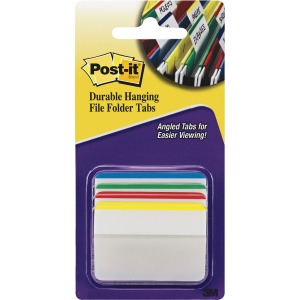 "Post-it® Tabs, 2"" Angled Lined, Assorted Primary Colors"
