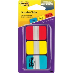"Post-it® Durable Tabs, 1"" x 1.5"", Red/Yellow/Blue"