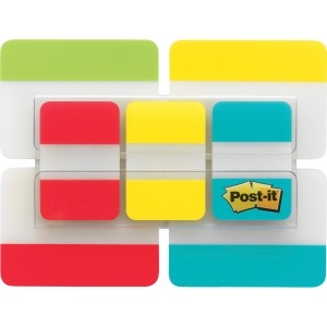 "Post-it® Tabs Value Pack, 1"" and 2"" sizes, Assorted Primary Colors"