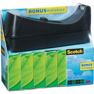 "Scotch® Magic™ Tape, 3/4"" x 900"", 6 Boxes of tape and 1 dispenser, 1"" Core"