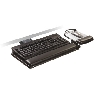 3M™ Sit/Stand Easy Adjust Keyboard Tray, Adj Platform, Gel Wrists, Precise™ Mouse Pad