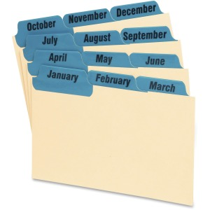 "12 x Divider(s) - Printed Tab(s) - Month - January-December - 5"" Divider Width - Manila Divider - Blue Tab(s) - 12 / Set"