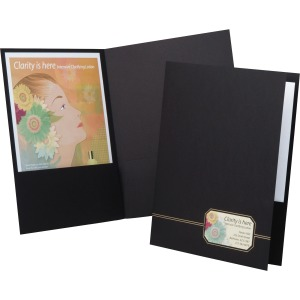 "1/2"" Folder Capacity - Letter - 8 1/2"" x 11"" Sheet Size - 80 Sheet Capacity - 2 Front Pocket(s) - Linen - Black, Gold - Recycled - 4 / Pack"