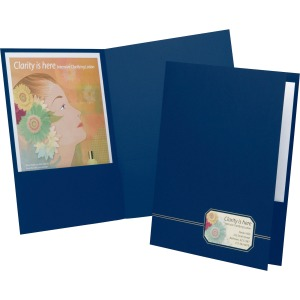 "1/2"" Folder Capacity - Letter - 8 1/2"" x 11"" Sheet Size - 80 Sheet Capacity - 2 Front Pocket(s) - Linen - Blue, Gold - 4 oz - Recycled - 4 / Pack"