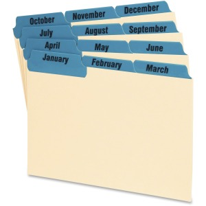 "12 x Divider(s) - Printed Tab(s) - Month - January-December - 6"" Divider Width - Manila Divider - Blue Tab(s) - 12 / Set"