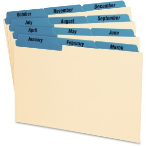 "12 x Divider(s) - Printed Tab(s) - Month - January-December - 8"" Divider Width - Manila Divider - Blue Tab(s) - 12 / Set"