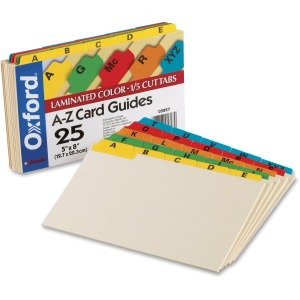 "25 x Divider(s) - Printed Tab(s) - Character - A-Z - 8"" Divider Width - Manila Divider - Assorted Tab(s) - 25 / Set"
