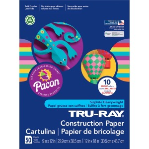 "ClassRoom Project - 12"" x 9"" - 50 / Pack - Bright Assorted - Sulphite"
