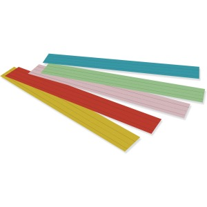 "3""H x 24""W - Dual-Sided - 1.5"" Rule/Single Line Rule - 100 Strips/Pack - 5 Assorted Colors"