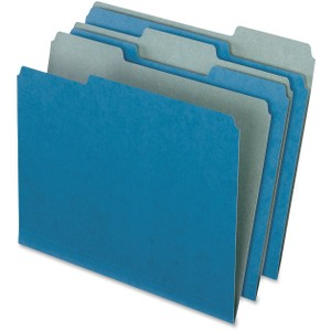 "Letter - 8 1/2"" x 11"" Sheet Size - 1/2"" Expansion - 1/3 Tab Cut - Assorted Position Tab Location - 11 pt. Folder Thickness - Blue - Recycled - 100 / Box"